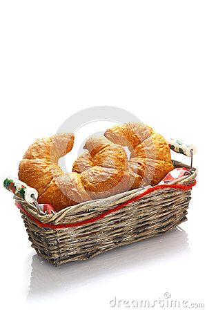 Crisp golden croissants in a basket
