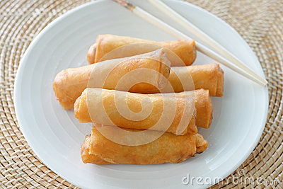 Crispy Chinese Traditional Spring rolls food