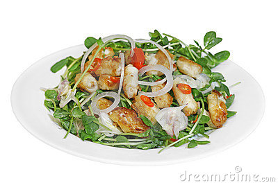 Crispy Fried Squid Salad
