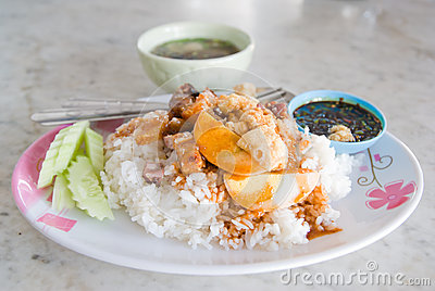 Crispy pork with rice
