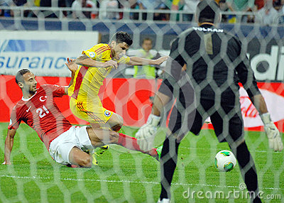 Cristian Tanase and Omer Toprak in Romania-Turkey World Cup Qualifier Game Editorial Photo