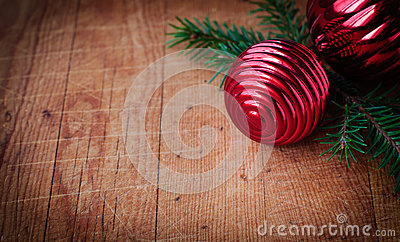Cristmas Card with Copy Space for Your Text, Christmas Decorations over Old Wood Background, Vintage Effect