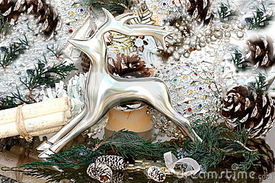 Cristmas decoration with silver deer