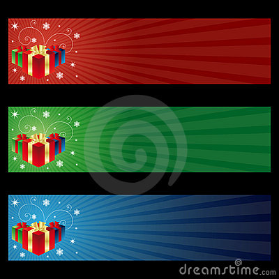 Free Cristmas Gift Banners Royalty Free Stock Images - 17070109