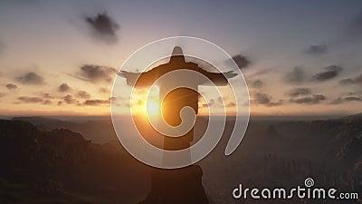 Cristo il Redemeer al tramonto, Rio de Janeiro, fine su, inclinazione, metraggio di riserva