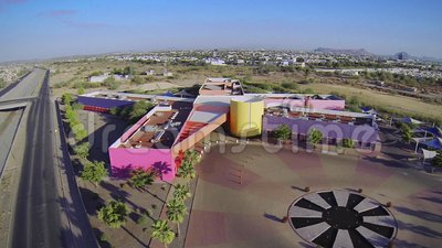 Multicolored CRIT building in Hermosillo, Sonora, Mexico. CRIT, a non profit organization that provides support for Childs and Teens with disabilities, cancer stock video
