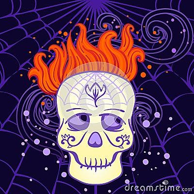 Crânio do açúcar de Halloween no vetor