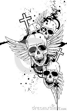 Crânios preto e branco