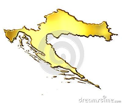 Croatia 3d Golden Map
