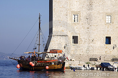 Croatia: Excursion boat in Dubrovnik Editorial Image