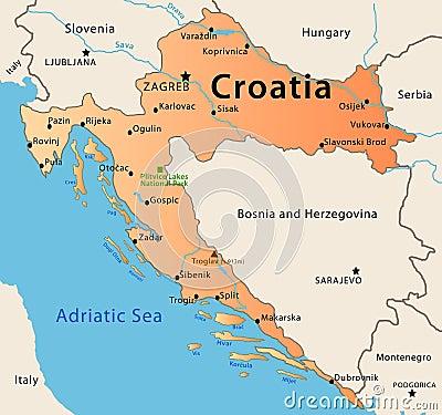 Free Croatia Map Royalty Free Stock Photo - 32974535