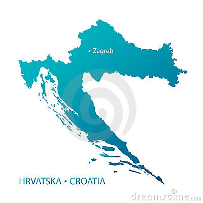 Croatia map highly detailed blue vector