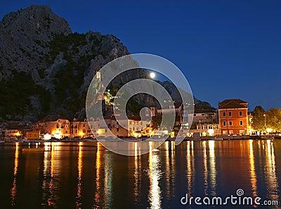 Croatia old town Omis at night