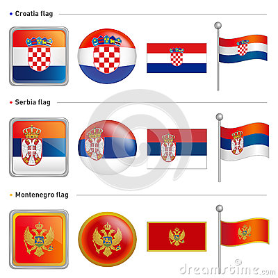 Croatia and Serbia, Montenegro Flag Icon. The world national Ico