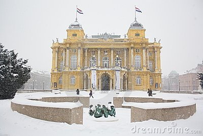 Croatian National Theater snowy Editorial Photography