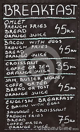 Free Croatian Street Cafe Breakfast Menu Stock Image - 42775731