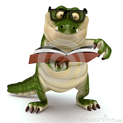 Free Croc Reading Book Royalty Free Stock Image - 46080686