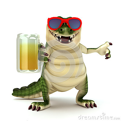 Free Croc With Glass Of Beer Stock Images - 46080644