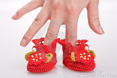 Crocheted booties for a girl
