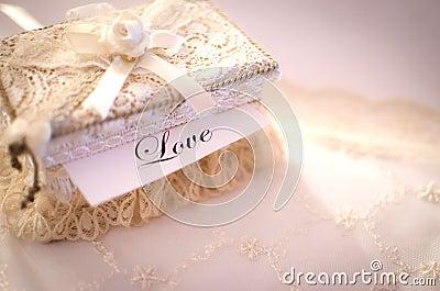 Crocheted box, love concept