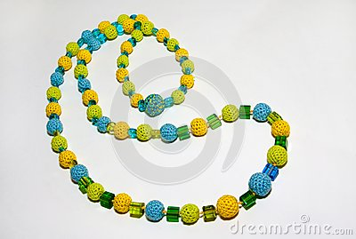 Crocheted colorful necklace