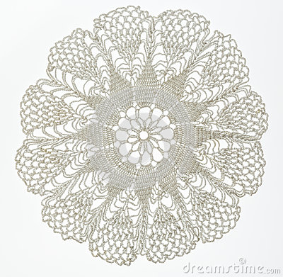 Free Crocheted Lace On White Stock Photo - 59184460