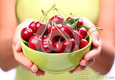 Crockery with cherries.