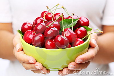 Crockery with cherries
