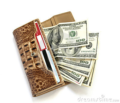 Croco leather wallet full of dollars