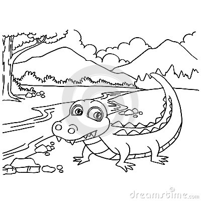 Crocodile Coloring Pages Vector Stock Vector - Image: 59305483