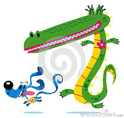 Crocodile & dog