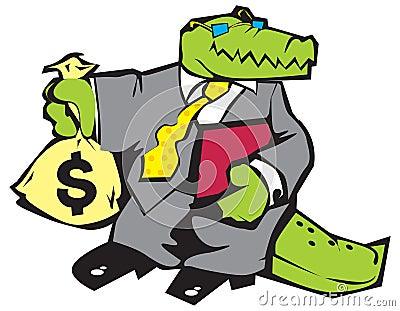 Crocodile in grey suit.