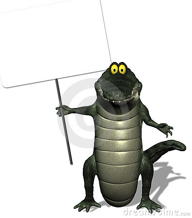 Crocodile Holding Sign with Clipping Path
