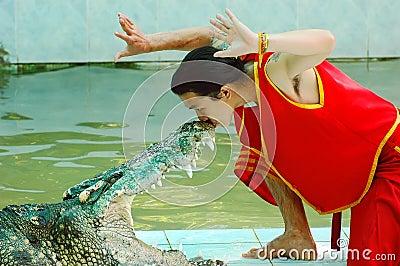 Crocodile show Editorial Photo