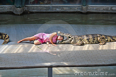 Crocodile show in Thailand Editorial Photo
