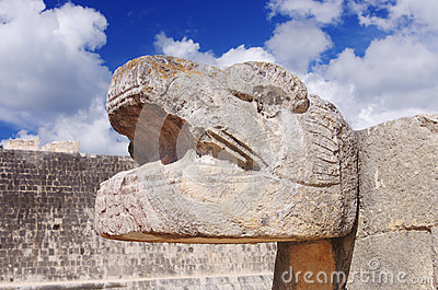 Reptile head in Chichen Itza, Mexico