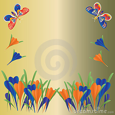 Crocus and Butterflies Background