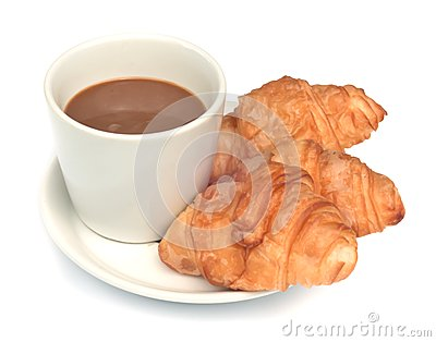 Croissant with  coffee.