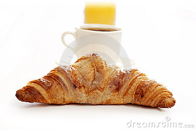 Croissant,coffee and juice