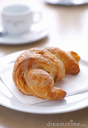 Croissant on Plate.