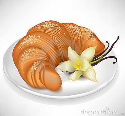 Croissant with vanilla on plate