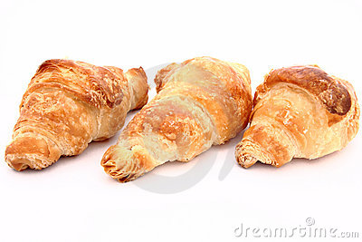 Croissants in a white background