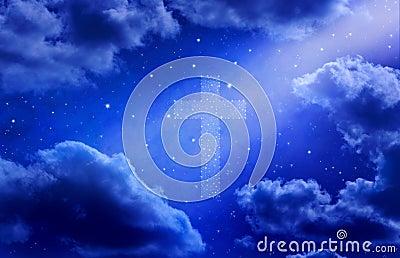Croix et ciel d étoiles