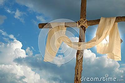 Croix, tissu de toile et ciel