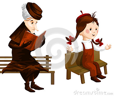 Crone girl bench clipart cartoon style  illustration white