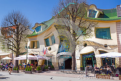 Crooked house on the Monte Cassino street in Sopot Editorial Stock Image