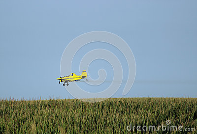 Crop Duster Airplane Spraying A Farm Field. Stock Vector - Image ...