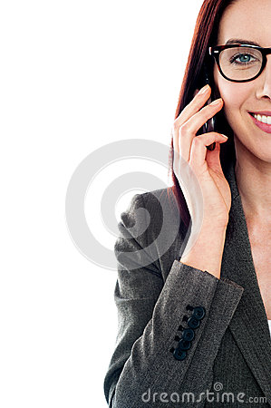 Cropped image of a lady using a mobile phone