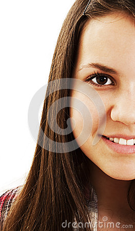 Cropped image of a lovely young woman face