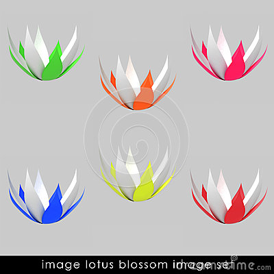 Free Cropped Six Colorful Waterlilly Blossom Set Royalty Free Stock Photos - 26445028